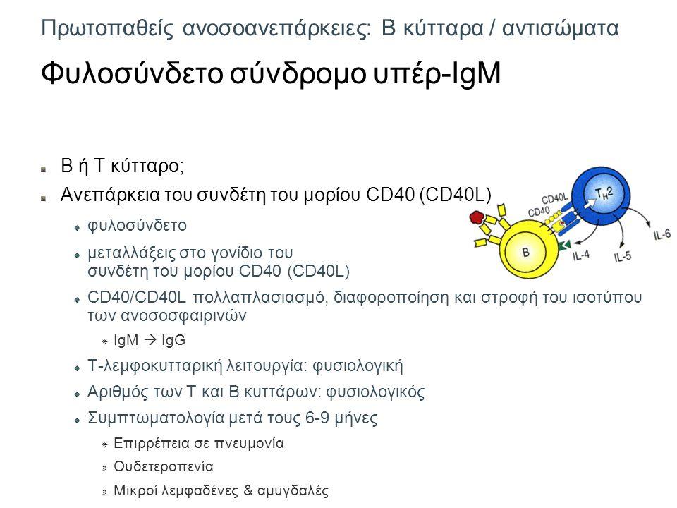 Πρωτοπαθείς ανοσοανεπάρκειες: Β κύτταρα / αντισώματα Φυλοσύνδετο σύνδρομο υπέρ-IgM Β ή Τ κύτταρο; Ανεπάρκεια του συνδέτη του μορίου CD40 (CD40L) φυλοσύνδετο μεταλλάξεις στο γονίδιο του συνδέτη του μορίου CD40 (CD40L) CD40/CD40L πολλαπλασιασμό, διαφοροποίηση και στροφή του ισοτύπου των ανοσοσφαιρινών  IgM  IgG Τ-λεμφοκυτταρική λειτουργία: φυσιολογική Αριθμός των Τ και Β κυττάρων: φυσιολογικός Συμπτωματολογία μετά τους 6-9 μήνες  Επιρρέπεια σε πνευμονία  Ουδετεροπενία  Μικροί λεμφαδένες & αμυγδαλές