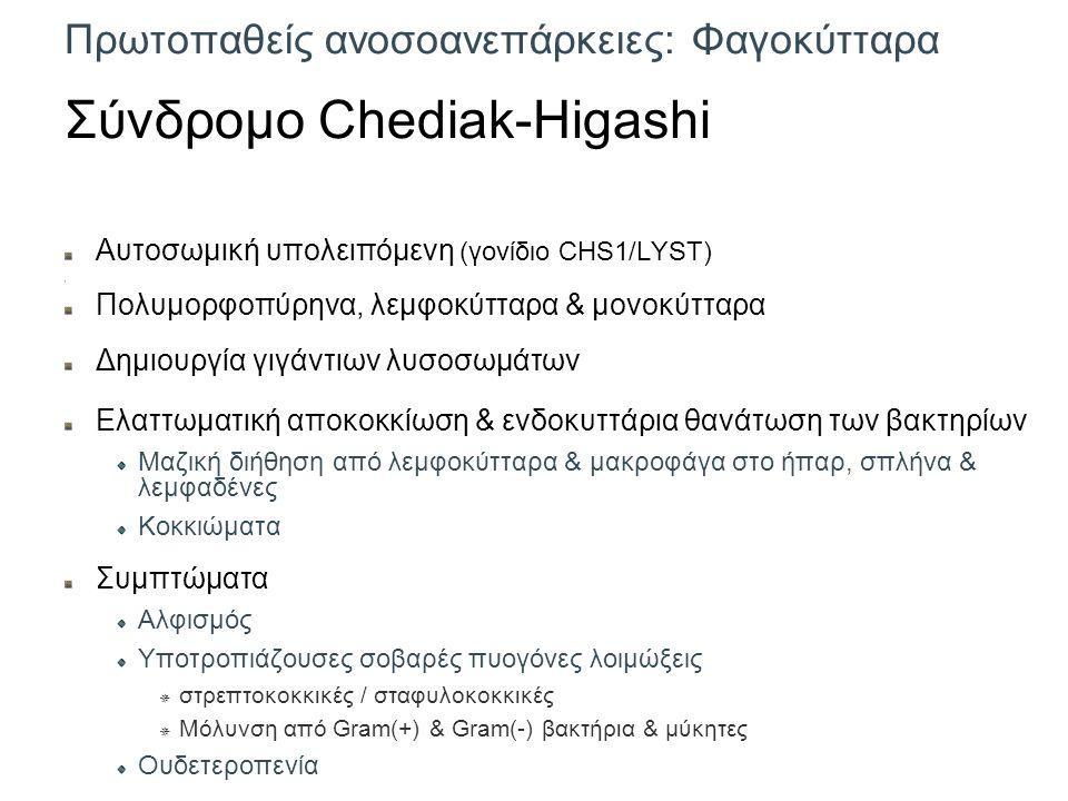 Πρωτοπαθείς ανοσοανεπάρκειες: Φαγοκύτταρα Σύνδρομο Chediak-Higashi Αυτοσωμική υπολειπόμενη (γονίδιο CHS1/LYST) Πολυμορφοπύρηνα, λεμφοκύτταρα & μονοκύτταρα Δημιουργία γιγάντιων λυσοσωμάτων Ελαττωματική αποκοκκίωση & ενδοκυττάρια θανάτωση των βακτηρίων Μαζική διήθηση από λεμφοκύτταρα & μακροφάγα στο ήπαρ, σπλήνα & λεμφαδένες Κοκκιώματα Συμπτώματα Αλφισμός Υποτροπιάζουσες σοβαρές πυογόνες λοιμώξεις  στρεπτοκοκκικές / σταφυλοκοκκικές  Μόλυνση από Gram(+) & Gram(-) βακτήρια & μύκητες Ουδετεροπενία