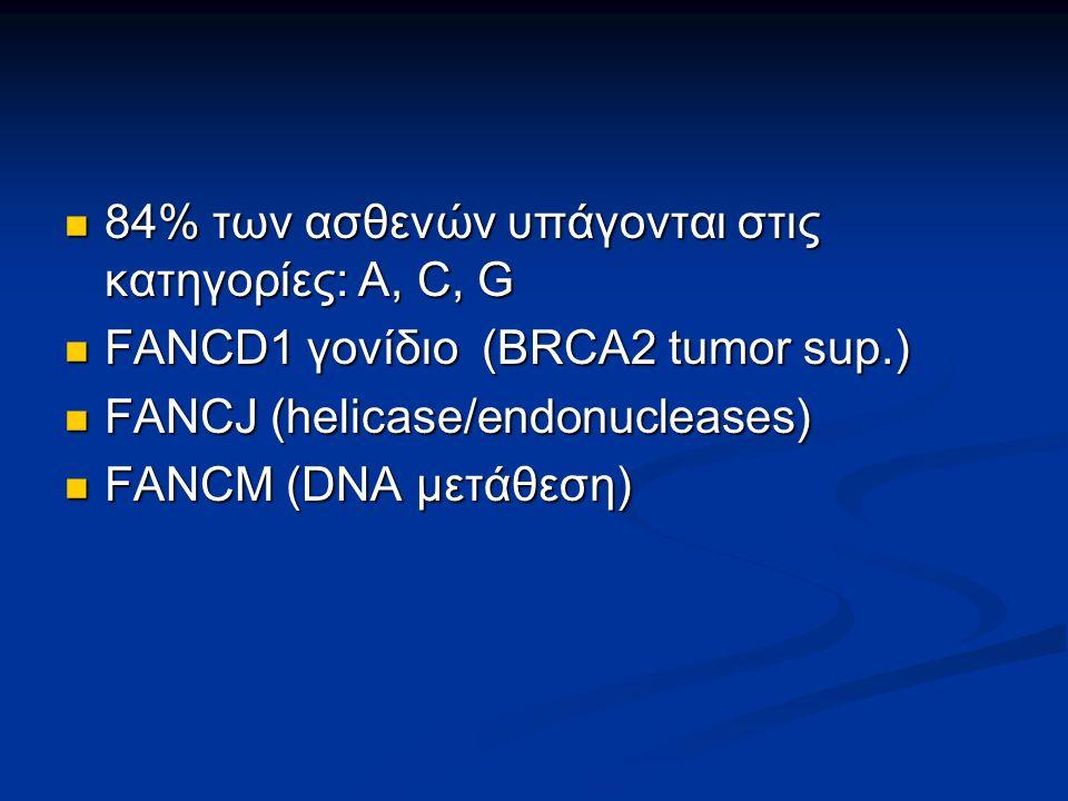 84% των ασθενών υπάγονται στις κατηγορίες: Α, C, G 84% των ασθενών υπάγονται στις κατηγορίες: Α, C, G FANCD1 γονίδιο (BRCA2 tumor sup.) FANCD1 γονίδιο (BRCA2 tumor sup.) FANCJ (helicase/endonucleases) FANCJ (helicase/endonucleases) FANCM (DNA μετάθεση) FANCM (DNA μετάθεση)