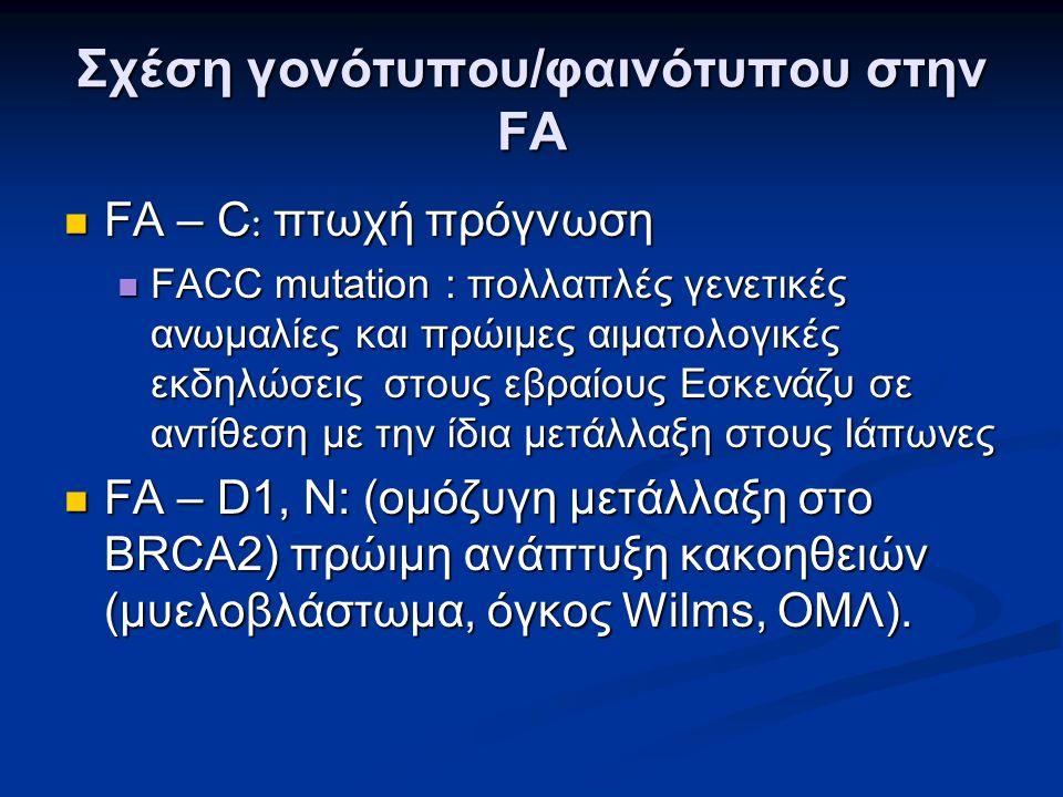 Σχέση γονότυπου/φαινότυπου στην FA FA – C : πτωχή πρόγνωση FA – C : πτωχή πρόγνωση FACC mutation : πολλαπλές γενετικές ανωμαλίες και πρώιμες αιματολογικές εκδηλώσεις στους εβραίους Εσκενάζυ σε αντίθεση με την ίδια μετάλλαξη στους Ιάπωνες FACC mutation : πολλαπλές γενετικές ανωμαλίες και πρώιμες αιματολογικές εκδηλώσεις στους εβραίους Εσκενάζυ σε αντίθεση με την ίδια μετάλλαξη στους Ιάπωνες FA – D1, N: (ομόζυγη μετάλλαξη στο BRCA2) πρώιμη ανάπτυξη κακοηθειών (μυελοβλάστωμα, όγκος Wilms, ΟΜΛ).