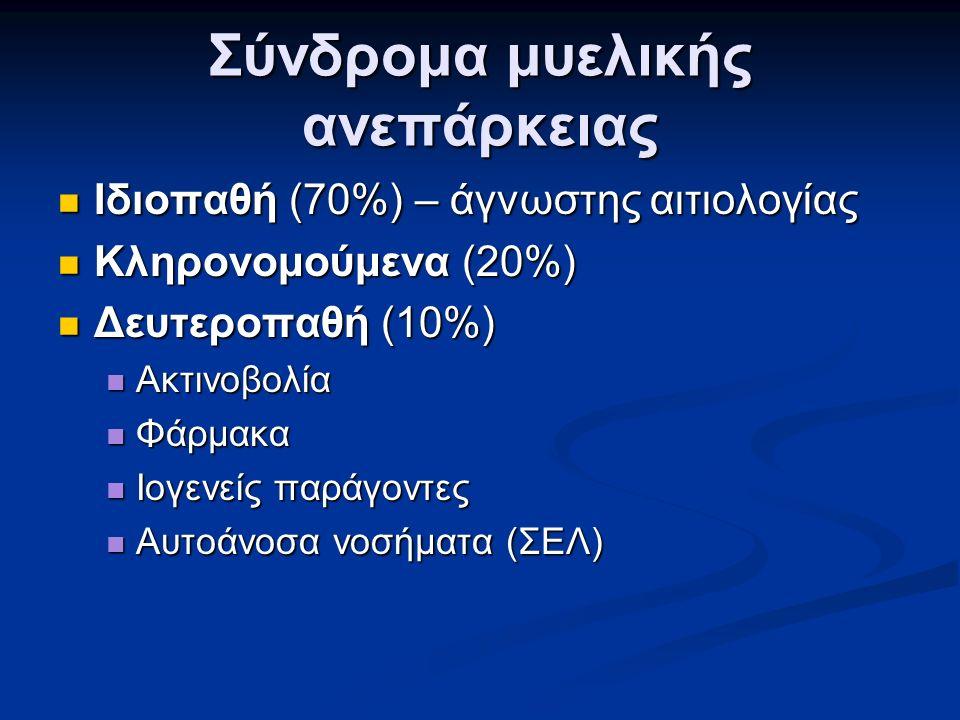 Σύνδρομα μυελικής ανεπάρκειας Ιδιοπαθή (70%) – άγνωστης αιτιολογίας Ιδιοπαθή (70%) – άγνωστης αιτιολογίας Κληρονομούμενα (20%) Κληρονομούμενα (20%) Δευτεροπαθή (10%) Δευτεροπαθή (10%) Ακτινοβολία Ακτινοβολία Φάρμακα Φάρμακα Ιογενείς παράγοντες Ιογενείς παράγοντες Αυτοάνοσα νοσήματα (ΣΕΛ) Αυτοάνοσα νοσήματα (ΣΕΛ)