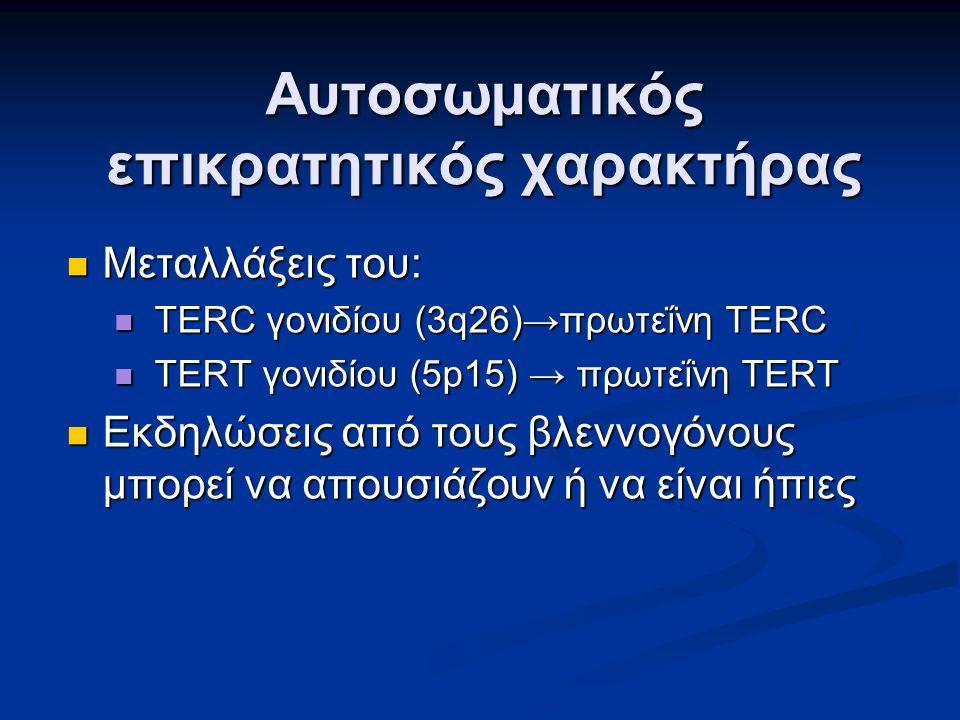 Αυτοσωματικός επικρατητικός χαρακτήρας Μεταλλάξεις του: Μεταλλάξεις του: TERC γονιδίου (3q26)→πρωτεΐνη TERC TERC γονιδίου (3q26)→πρωτεΐνη TERC TERT γονιδίου (5p15) → πρωτεΐνη TERT TERT γονιδίου (5p15) → πρωτεΐνη TERT Εκδηλώσεις από τους βλεννογόνους μπορεί να απουσιάζουν ή να είναι ήπιες Εκδηλώσεις από τους βλεννογόνους μπορεί να απουσιάζουν ή να είναι ήπιες