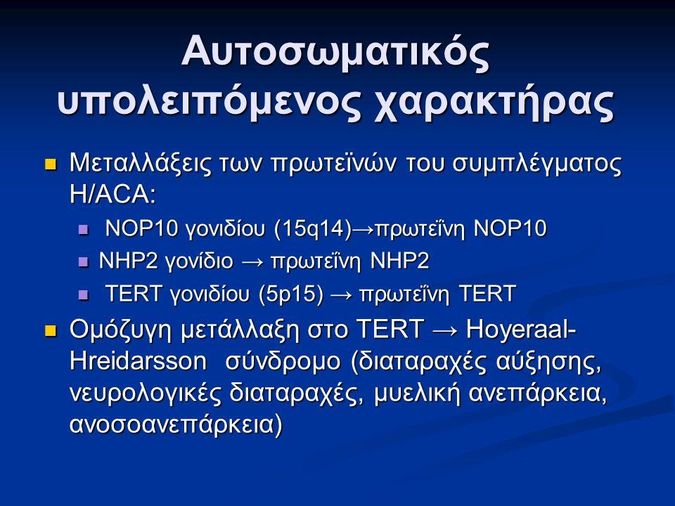 Αυτοσωματικός υπολειπόμενος χαρακτήρας Μεταλλάξεις των πρωτεϊνών του συμπλέγματος H/ACA: Μεταλλάξεις των πρωτεϊνών του συμπλέγματος H/ACA: NOP10 γονιδίου (15q14)→πρωτεΐνη NOP10 NOP10 γονιδίου (15q14)→πρωτεΐνη NOP10 NHP2 γονίδιο → πρωτεΐνη NHP2 NHP2 γονίδιο → πρωτεΐνη NHP2 TERT γονιδίου (5p15) → πρωτεΐνη TERT TERT γονιδίου (5p15) → πρωτεΐνη TERT Ομόζυγη μετάλλαξη στο TERT → Hoyeraal- Hreidarsson σύνδρομο (διαταραχές αύξησης, νευρολογικές διαταραχές, μυελική ανεπάρκεια, ανοσοανεπάρκεια) Ομόζυγη μετάλλαξη στο TERT → Hoyeraal- Hreidarsson σύνδρομο (διαταραχές αύξησης, νευρολογικές διαταραχές, μυελική ανεπάρκεια, ανοσοανεπάρκεια)