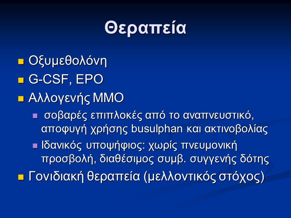 Θεραπεία Οξυμεθολόνη Οξυμεθολόνη G-CSF, EPO G-CSF, EPO Αλλογενής ΜΜΟ Αλλογενής ΜΜΟ σοβαρές επιπλοκές από το αναπνευστικό, αποφυγή χρήσης busulphan και ακτινοβολίας σοβαρές επιπλοκές από το αναπνευστικό, αποφυγή χρήσης busulphan και ακτινοβολίας Ιδανικός υποψήφιος: χωρίς πνευμονική προσβολή, διαθέσιμος συμβ.