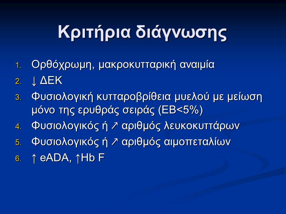Κριτήρια διάγνωσης 1. Ορθόχρωμη, μακροκυτταρική αναιμία 2.