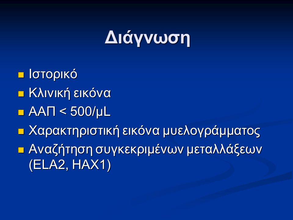 Διάγνωση Ιστορικό Ιστορικό Κλινική εικόνα Κλινική εικόνα ΑΑΠ < 500/μL ΑΑΠ < 500/μL Χαρακτηριστική εικόνα μυελογράμματος Χαρακτηριστική εικόνα μυελογράμματος Αναζήτηση συγκεκριμένων μεταλλάξεων (ELA2, HAX1) Αναζήτηση συγκεκριμένων μεταλλάξεων (ELA2, HAX1)