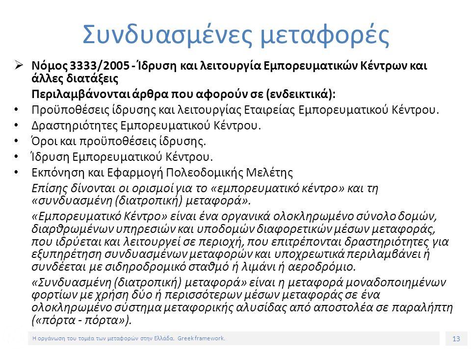 13 Η οργάνωση του τομέα των μεταφορών στην Ελλάδα.