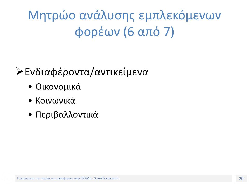 20 Η οργάνωση του τομέα των μεταφορών στην Ελλάδα.