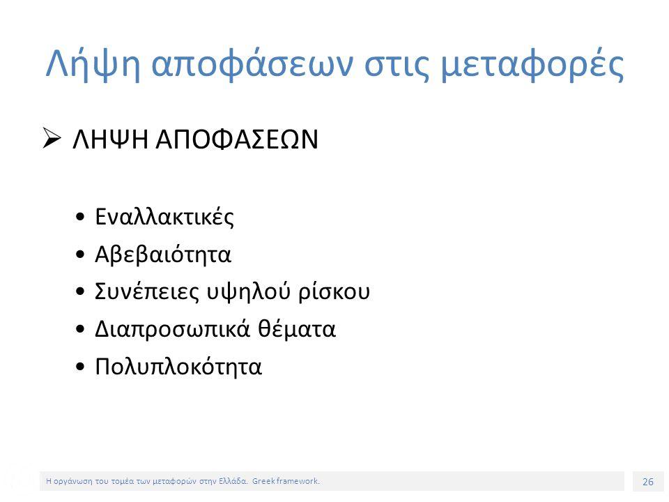 26 Η οργάνωση του τομέα των μεταφορών στην Ελλάδα.