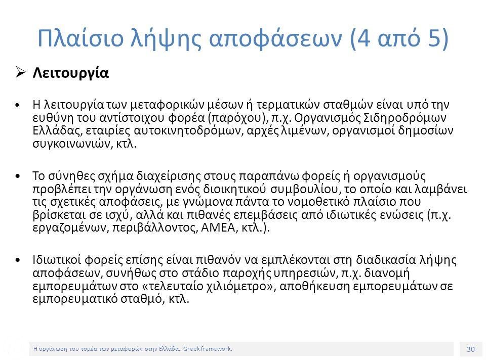 30 Η οργάνωση του τομέα των μεταφορών στην Ελλάδα.