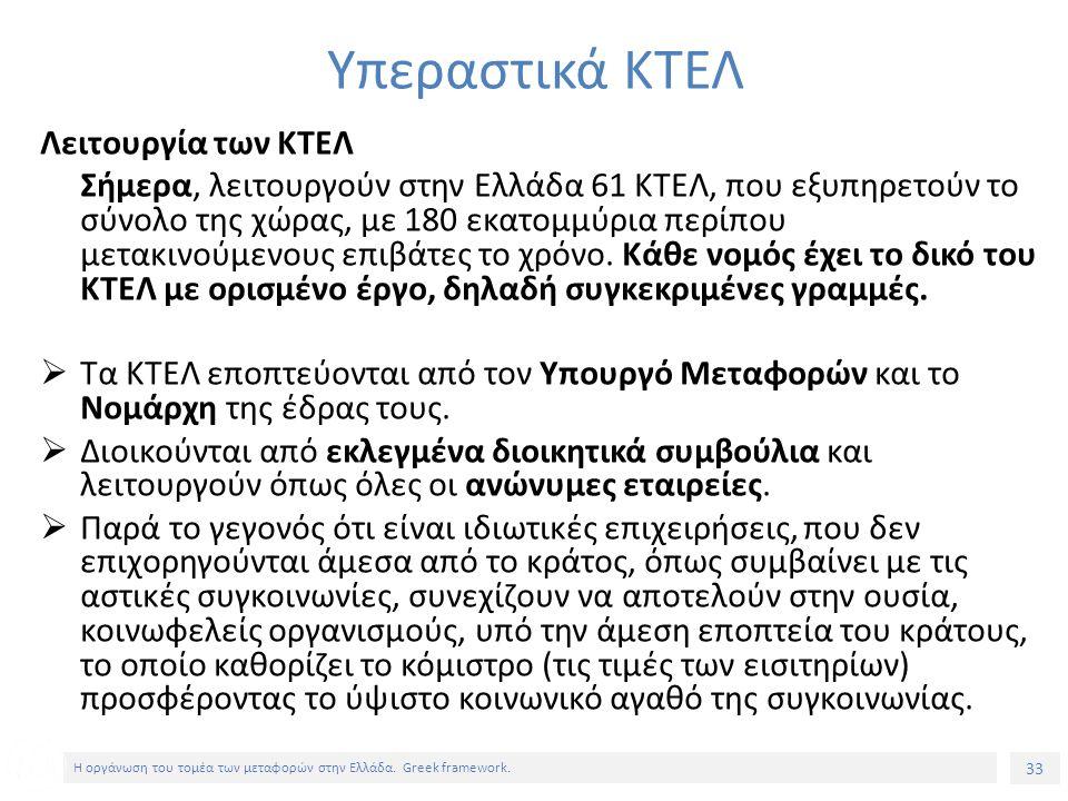 33 Η οργάνωση του τομέα των μεταφορών στην Ελλάδα.