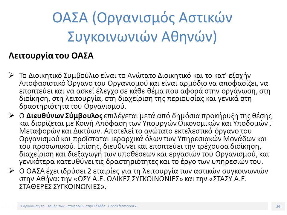 34 Η οργάνωση του τομέα των μεταφορών στην Ελλάδα.