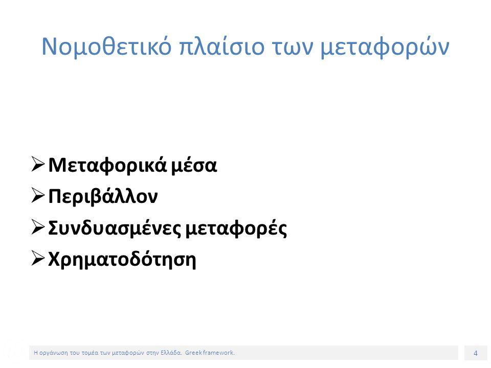 4 Η οργάνωση του τομέα των μεταφορών στην Ελλάδα. Greek framework.