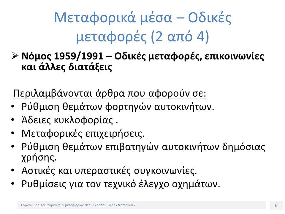 6 Η οργάνωση του τομέα των μεταφορών στην Ελλάδα. Greek framework.