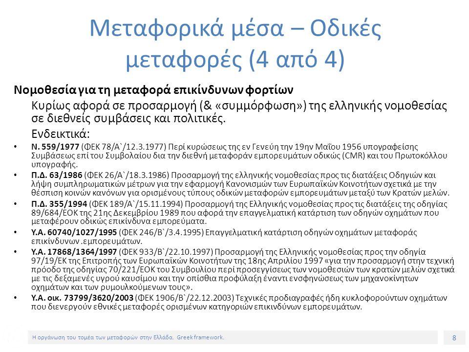 8 Η οργάνωση του τομέα των μεταφορών στην Ελλάδα. Greek framework.