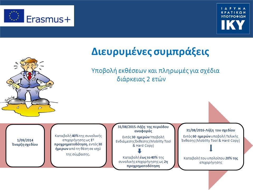 Διευρυμένες συμπράξεις Υποβολή εκθέσεων και πληρωμές για σχέδια διάρκειας 2 ετών 1/09/2014 Έναρξη σχεδίου Καταβολή 40% της συνολικής επιχορήγησης ως 1