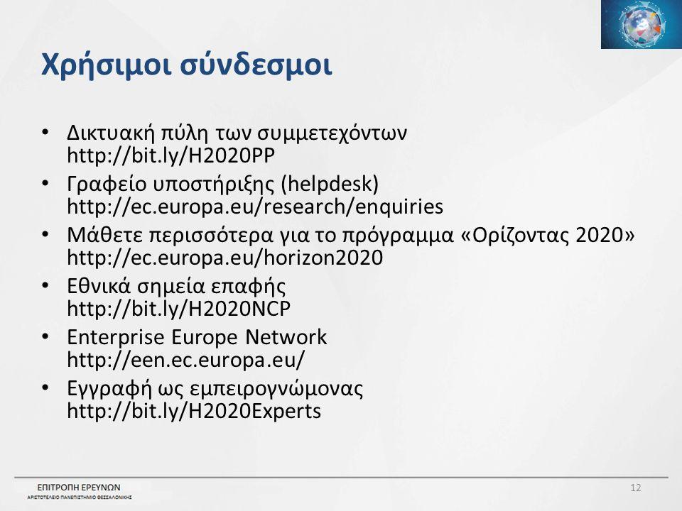 Χρήσιμοι σύνδεσμοι Δικτυακή πύλη των συμμετεχόντων http://bit.ly/H2020PP Γραφείο υποστήριξης (helpdesk) http://ec.europa.eu/research/enquiries Μάθετε περισσότερα για το πρόγραμμα «Ορίζοντας 2020» http://ec.europa.eu/horizon2020 Εθνικά σημεία επαφής http://bit.ly/H2020NCP Enterprise Europe Network http://een.ec.europa.eu/ Εγγραφή ως εμπειρογνώμονας http://bit.ly/H2020Experts 12