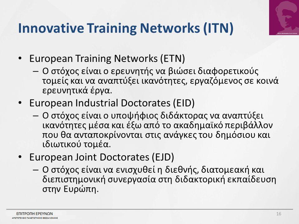 Innovative Training Networks (ITN) European Training Networks (ETN) – Ο στόχος είναι ο ερευνητής να βιώσει διαφορετικούς τομείς και να αναπτύξει ικανότητες, εργαζόμενος σε κοινά ερευνητικά έργα.