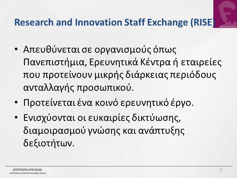 Research and Innovation Staff Exchange (RISE) Απευθύνεται σε οργανισμούς όπως Πανεπιστήμια, Ερευνητικά Κέντρα ή εταιρείες που προτείνουν μικρής διάρκειας περιόδους ανταλλαγής προσωπικού.