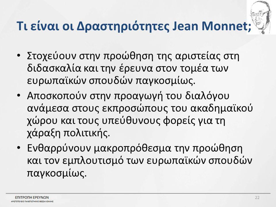 Τι είναι οι Δραστηριότητες Jean Monnet; Στοχεύουν στην προώθηση της αριστείας στη διδασκαλία και την έρευνα στον τομέα των ευρωπαϊκών σπουδών παγκοσμίως.