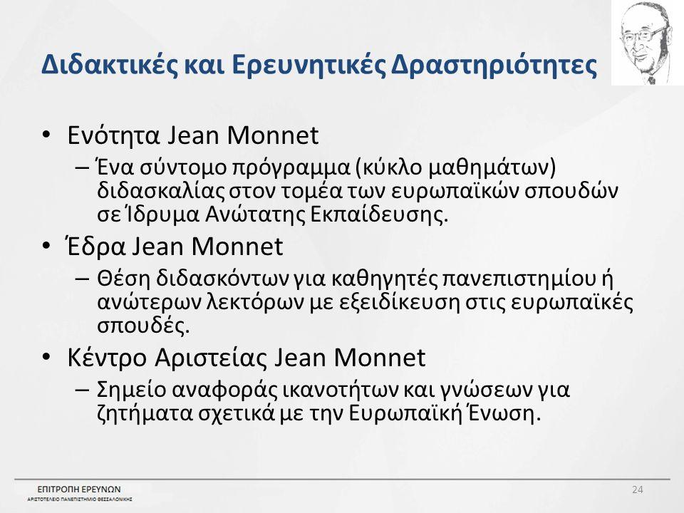 Διδακτικές και Ερευνητικές Δραστηριότητες Ενότητα Jean Monnet – Ένα σύντομο πρόγραμμα (κύκλο μαθημάτων) διδασκαλίας στον τομέα των ευρωπαϊκών σπουδών σε Ίδρυμα Ανώτατης Εκπαίδευσης.