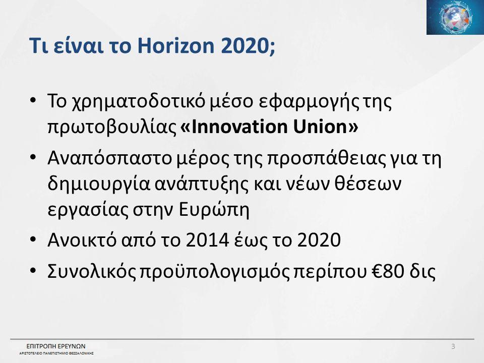 Τι είναι το Horizon 2020; Το χρηματοδοτικό μέσο εφαρμογής της πρωτοβουλίας «Innovation Union» Αναπόσπαστο μέρος της προσπάθειας για τη δημιουργία ανάπτυξης και νέων θέσεων εργασίας στην Ευρώπη Ανοικτό από το 2014 έως το 2020 Συνολικός προϋπολογισμός περίπου €80 δις 3