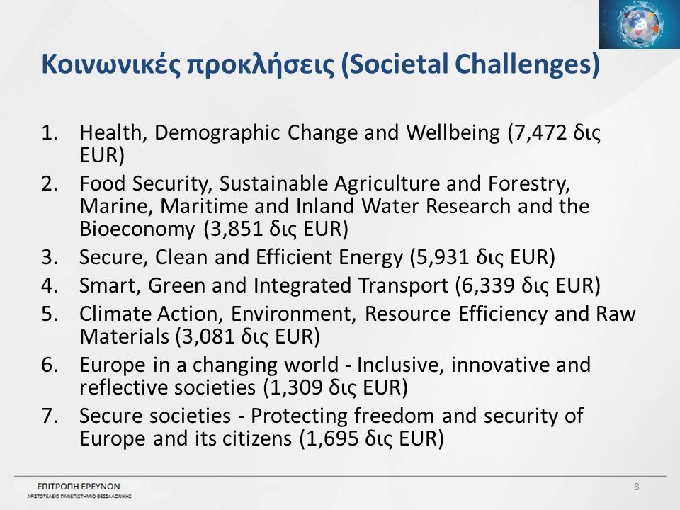 Κοινωνικές προκλήσεις (Societal Challenges) 1.Health, Demographic Change and Wellbeing (7,472 δις EUR) 2.Food Security, Sustainable Agriculture and Forestry, Marine, Maritime and Inland Water Research and the Bioeconomy (3,851 δις EUR) 3.Secure, Clean and Efficient Energy (5,931 δις EUR) 4.Smart, Green and Integrated Transport (6,339 δις EUR) 5.Climate Action, Environment, Resource Efficiency and Raw Materials (3,081 δις EUR) 6.Europe in a changing world - Inclusive, innovative and reflective societies (1,309 δις EUR) 7.Secure societies - Protecting freedom and security of Europe and its citizens (1,695 δις EUR) 8