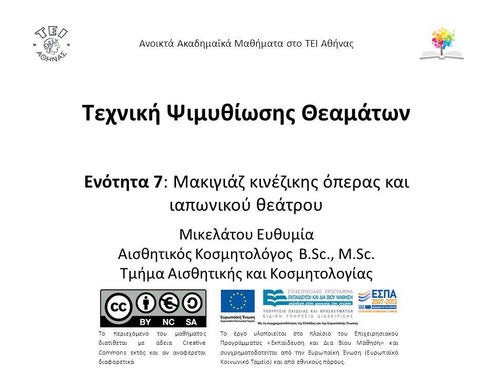 Τεχνική Ψιμυθίωσης Θεαμάτων Ενότητα 7: Μακιγιάζ κινέζικης όπερας και ιαπωνικού θεάτρου Μικελάτου Ευθυμία Αισθητικός Κοσμητολόγος B.Sc., M.Sc.