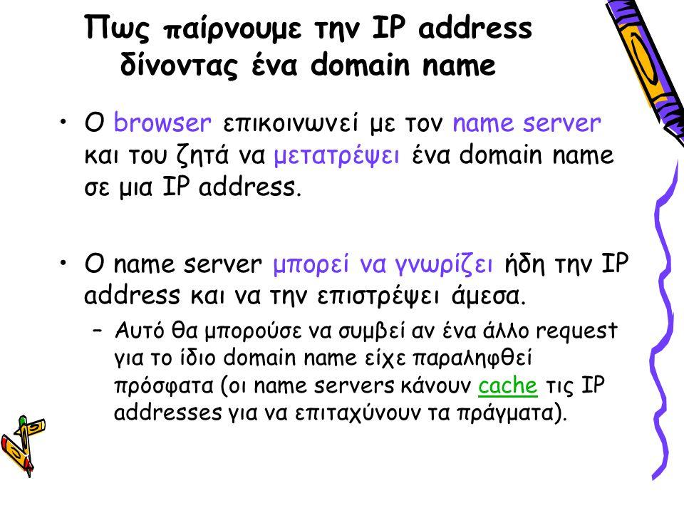 Πως παίρνουμε την IP address δίνοντας ένα domain name Ο browser επικοινωνεί με τον name server και του ζητά να μετατρέψει ένα domain name σε μια IP ad
