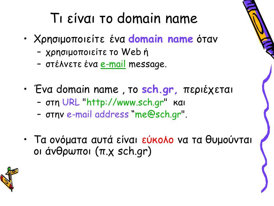 Τι είναι το domain name Χρησιμοποιείτε ένα domain name όταν –χρησιμοποιείτε το Web ή –στέλνετε ένα e-mail message.e-mail Ένα domain name, το sch.gr, περιέχεται –στη URL http://www.sch.gr και –στην e-mail address me@sch.gr .