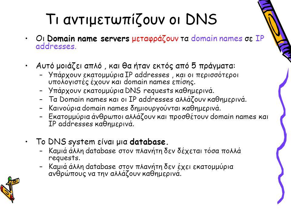 Τι αντιμετωπίζουν οι DNS Οι Domain name servers μεταφράζουν τα domain names σε IP addresses. Αυτό μοιάζει απλό, και θα ήταν εκτός από 5 πράγματα: –Υπά