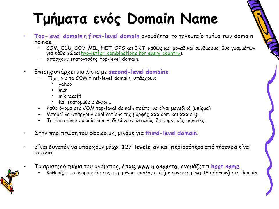 Τμήματα ενός Domain Name Τop-level domain ή first-level domain ονομάζεται το τελευταίο τμήμα των domain names. –COM, EDU, GOV, MIL, NET, ORG και INT,