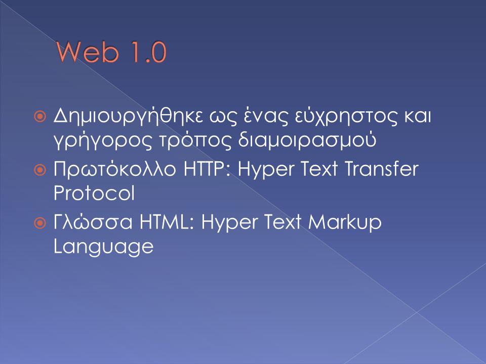  Δημιουργήθηκε ως ένας εύχρηστος και γρήγορος τρόπος διαμοιρασμού  Πρωτόκολλο HTTP: Hyper Text Transfer Protocol  Γλώσσα HTML: Hyper Text Markup Language