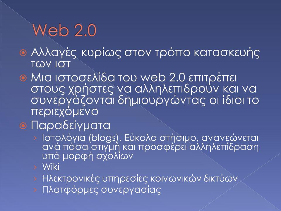  Aλλαγές κυρίως στον τρόπο κατασκευής των ιστ  Μια ιστοσελίδα του web 2.0 επιτρέπει στους χρήστες να αλληλεπιδρούν και να συνεργάζονται δημιουργώντας οι ίδιοι το περιεχόμενο  Παραδείγματα › Ιστολόγια (blogs).