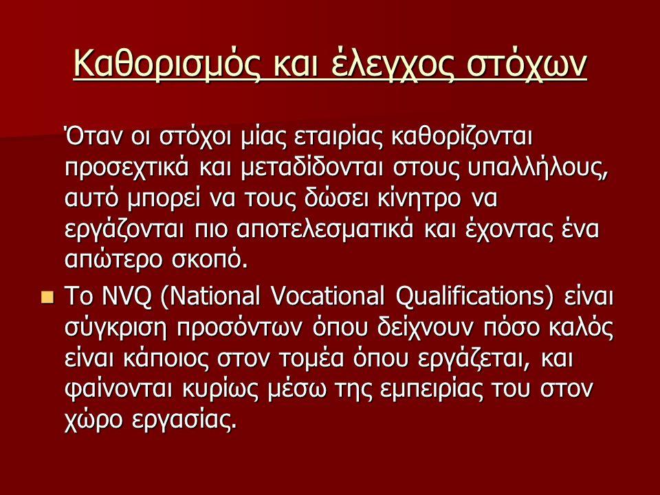 Καθορισμός και έλεγχος στόχων Σύμφωνα με το NVQ, για σωστό έλεγχο και επίτευξη των στόχων πρέπει: Σύμφωνα με το NVQ, για σωστό έλεγχο και επίτευξη των στόχων πρέπει: Τα αποτελέσματα να ελέγχονται, να αναλύονται και να αξιολογούνται σε σχέση με τους στόχους που θέσαμε.