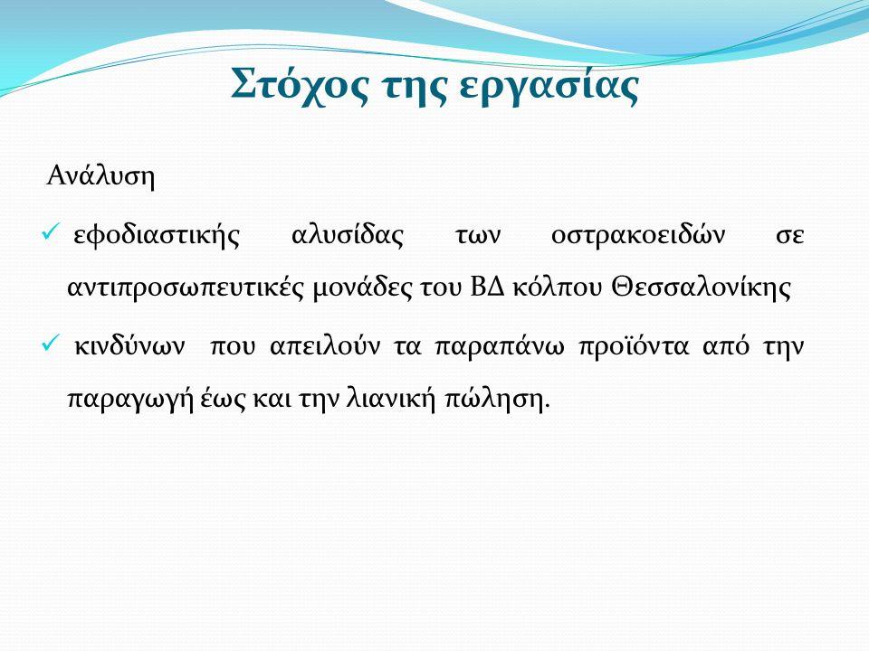 Στόχος της εργασίας Ανάλυση εφοδιαστικής αλυσίδας των οστρακοειδών σε αντιπροσωπευτικές μονάδες του ΒΔ κόλπου Θεσσαλονίκης κινδύνων που απειλούν τα παραπάνω προϊόντα από την παραγωγή έως και την λιανική πώληση.