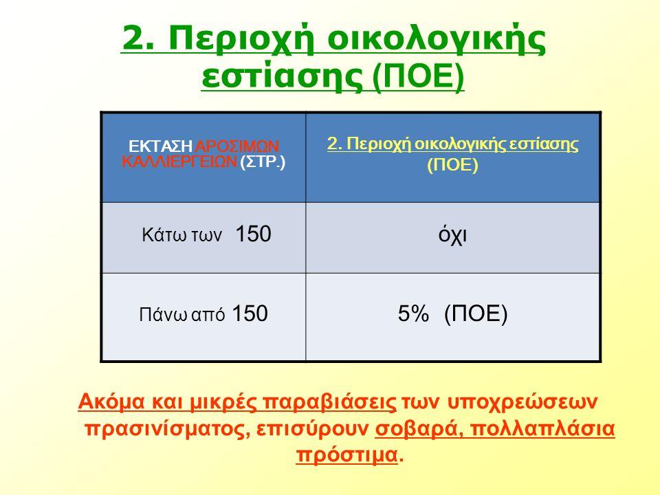 2. Περιοχή οικολογικής εστίασης (ΠΟΕ) ΕΚΤΑΣΗ ΑΡΟΣΙΜΩΝ ΚΑΛΛΙΕΡΓΕΙΩΝ (ΣΤΡ.) 2. Περιοχή οικολογικής εστίασης (ΠΟΕ) Κάτω των 150όχι Πάνω από 1505% (ΠΟΕ) Α