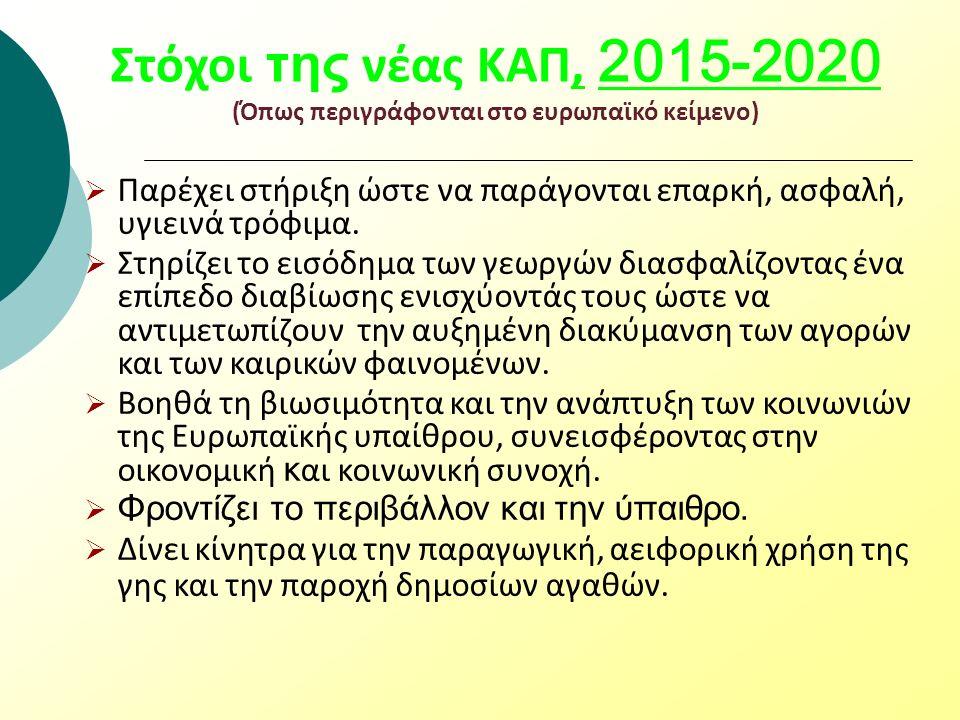 Στόχοι της νέας ΚΑΠ, 2015-2020 (Όπως περιγράφονται στο ευρωπαϊκό κείμενο)  Παρέχει στήριξη ώστε να παράγονται επαρκή, ασφαλή, υγιεινά τρόφιμα.  Στηρ