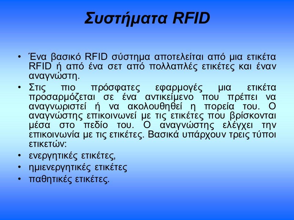 Συστήματα RFID Ένα βασικό RFID σύστημα αποτελείται από μια ετικέτα RFID ή από ένα σετ από πολλαπλές ετικέτες και έναν αναγνώστη. Στις πιο πρόσφατες εφ
