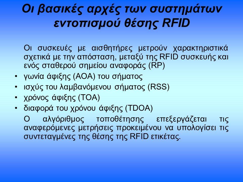 Οι βασικές αρχές των συστημάτων εντοπισμού θέσης RFID Οι συσκευές με αισθητήρες μετρούν χαρακτηριστικά σχετικά με την απόσταση, μεταξύ της RFID συσκευ