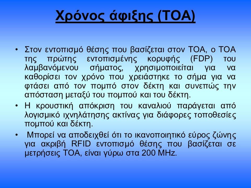 Χρόνος άφιξης (ΤΟΑ) Στον εντοπισμό θέσης που βασίζεται στον ΤΟΑ, ο ΤΟΑ της πρώτης εντοπισμένης κορυφής (FDP) του λαμβανόμενου σήματος, χρησιμοποιείται