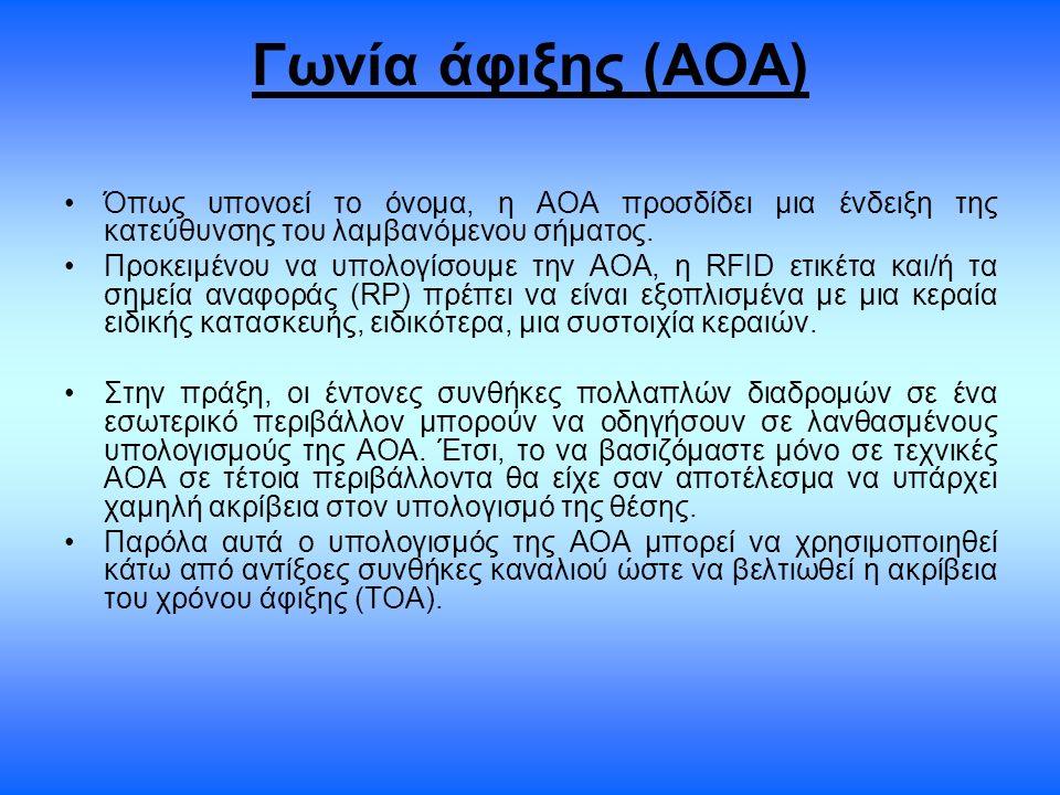 Γωνία άφιξης (ΑΟΑ) Όπως υπονοεί το όνομα, η ΑΟΑ προσδίδει μια ένδειξη της κατεύθυνσης του λαμβανόμενου σήματος. Προκειμένου να υπολογίσουμε την ΑΟΑ, η