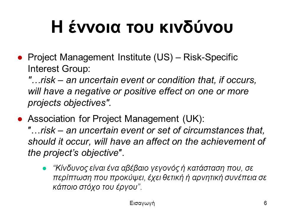 Η έννοια του κινδύνου ●Project Management Institute (US) – Risk-Specific Interest Group: ″…risk – an uncertain event or condition that, if occurs, wil