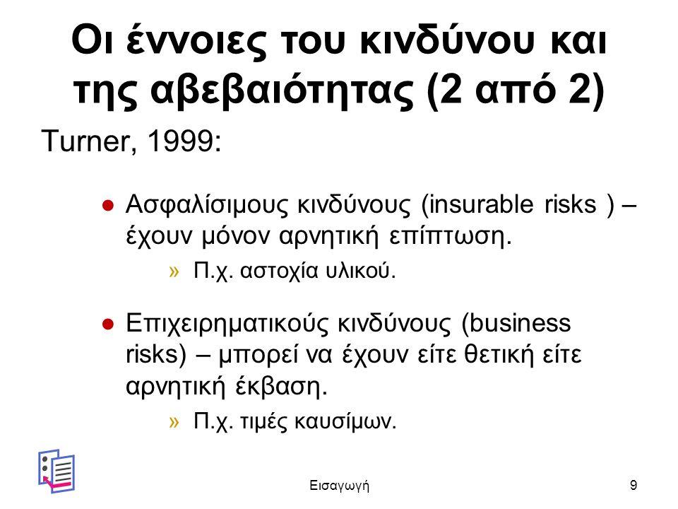 Οι έννοιες του κινδύνου και της αβεβαιότητας (2 από 2) Turner, 1999: ●Ασφαλίσιμους κινδύνους (insurable risks ) – έχουν μόνον αρνητική επίπτωση.