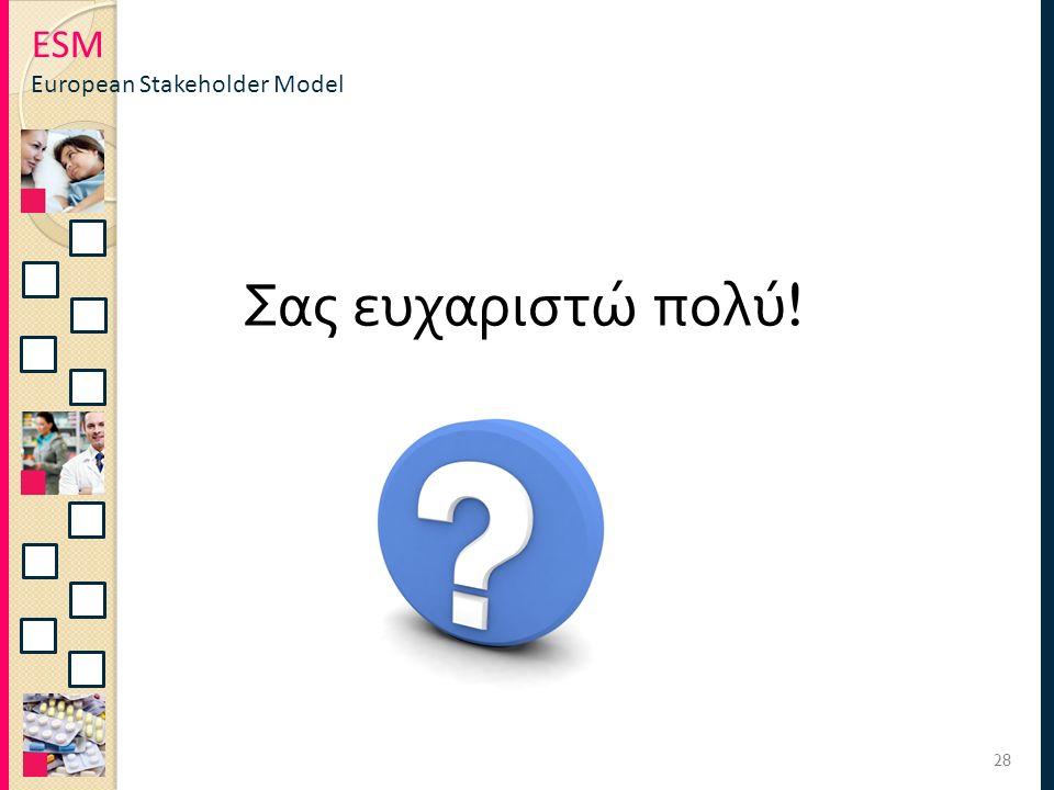 ESM European Stakeholder Model 28 Σας ευχαριστώ πολύ !