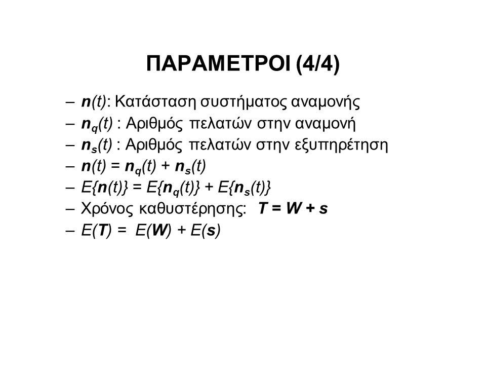 ΠΑΡΑΜΕΤΡΟΙ (4/4) –n(t): Κατάσταση συστήματος αναμονής –n q (t) : Αριθμός πελατών στην αναμονή –n s (t) : Αριθμός πελατών στην εξυπηρέτηση –n(t) = n q (t) + n s (t) –E{n(t)} = E{n q (t)} + E{n s (t)} –Χρόνος καθυστέρησης: Τ = W + s –Ε(Τ) = E(W) + E(s)