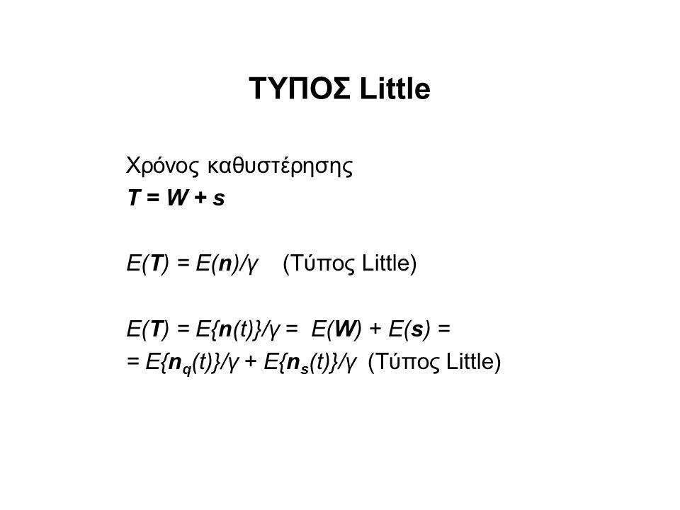 ΤΥΠΟΣ Little Χρόνος καθυστέρησης Τ = W + s Ε(Τ) = Ε(n)/γ (Τύπος Little) Ε(Τ) = E{n(t)}/γ = E(W) + E(s) = = E{n q (t)}/γ + E{n s (t)}/γ (Τύπος Little)
