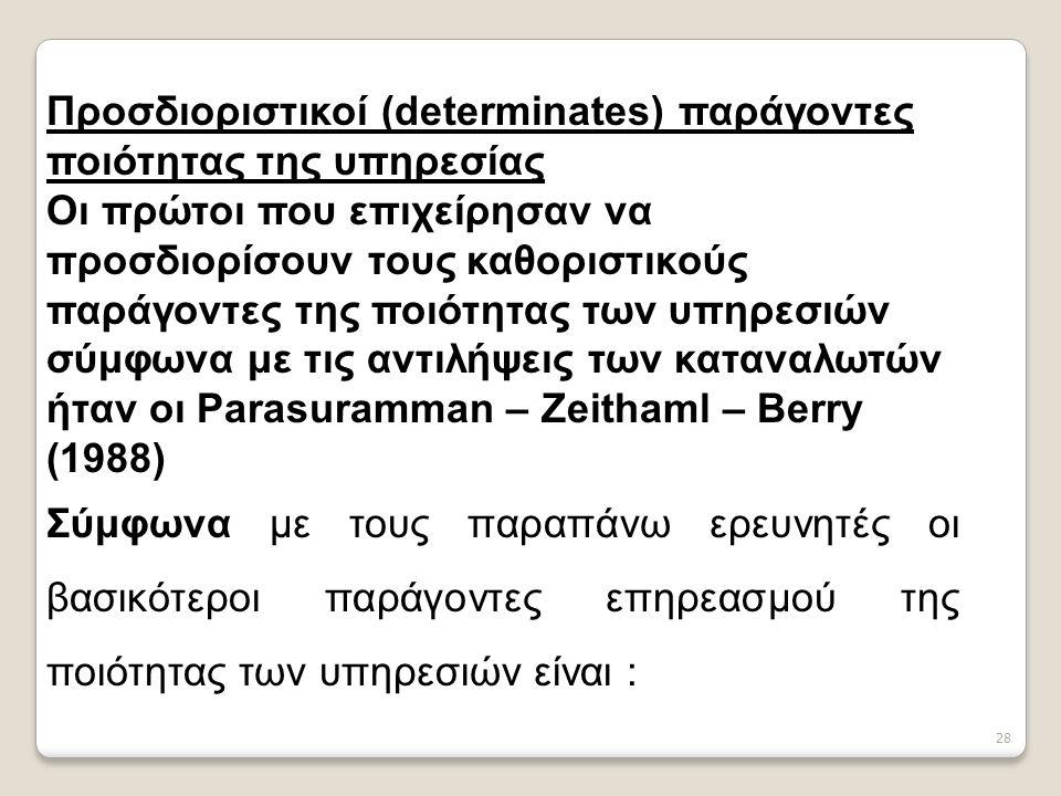28 Προσδιοριστικοί (determinates) παράγοντες ποιότητας της υπηρεσίας Οι πρώτοι που επιχείρησαν να προσδιορίσουν τους καθοριστικούς παράγοντες της ποιότητας των υπηρεσιών σύμφωνα με τις αντιλήψεις των καταναλωτών ήταν οι Parasuramman – Zeithaml – Berry (1988) Σύμφωνα με τους παραπάνω ερευνητές οι βασικότεροι παράγοντες επηρεασμού της ποιότητας των υπηρεσιών είναι :