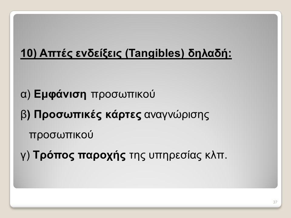 10) Απτές ενδείξεις (Tangibles) δηλαδή: α) Εμφάνιση προσωπικού β) Προσωπικές κάρτες αναγνώρισης προσωπικού γ) Τρόπος παροχής της υπηρεσίας κλπ.