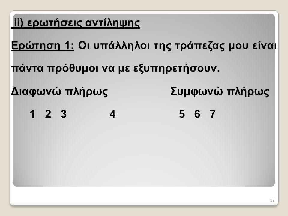 52 ii) ερωτήσεις αντίληψης Ερώτηση 1: Οι υπάλληλοι της τράπεζας μου είναι πάντα πρόθυμοι να με εξυπηρετήσουν.